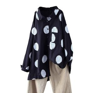 Tops - Black Oversized Button Up Shirt White Polkadots